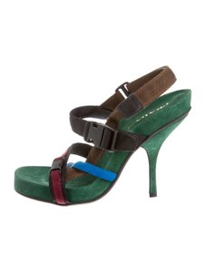 Prada Vintage Suede Green Sandals