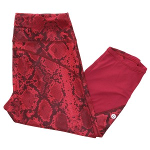 Lululemon Crop Pre-owned Capri/Cropped Pants Ziggy Snake Print Red Tide Cranberry