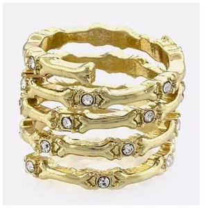 Other D2 Gold Metal Bones & Crystal Wrap Ring
