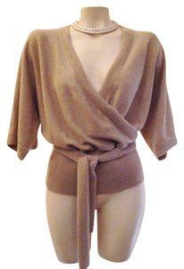 Lafayette 148 New York Cashmere Wrap Belted Surplus Neckline V-neck Sweater