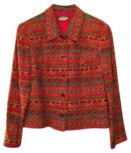 Maggy London Silk red pattern Jacket