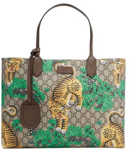 Gucci Gg Supreme Tiger Printed Tote in Beige and Brown