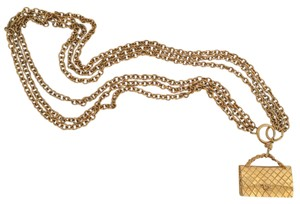 Chanel Vintage Triple Chain Iconic Purse Pendant Necklace