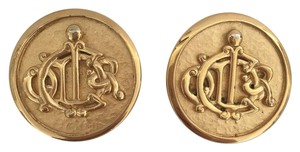 Dior Gold Tone Monogrammed Dior Earrings
