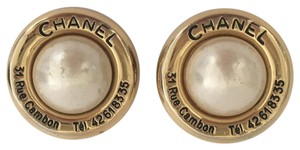 Chanel Vintage Chanel Gold Tone Metal And Faux Pearls Earrings