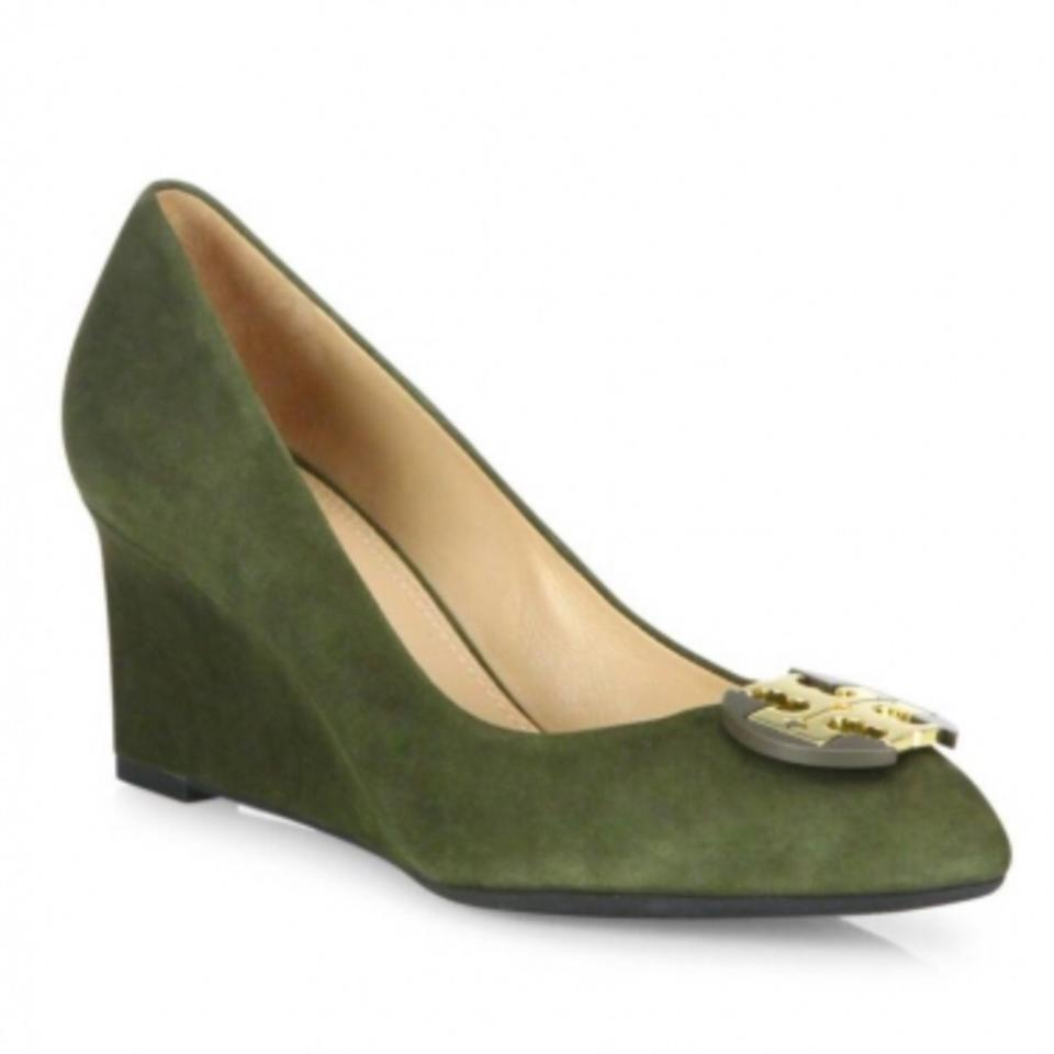 f5eeb58a698e69 Tory Burch Green Luna 65mm Forest Suede Wedges Size US 9.5 Regular ...