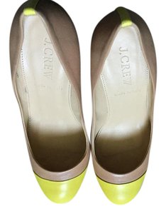 J.Crew Color-blocking Leather Burnished Sand Pumps