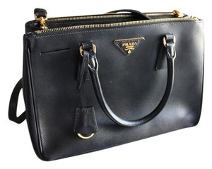 Prada Leather Gold Tote in Black