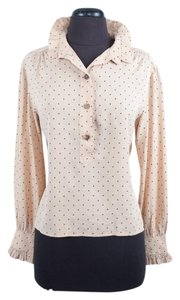 Chlo Chloe Silk Polka Dot Top Tan