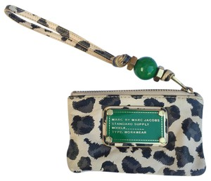Marc by Marc Jacobs Animal Print Leather Gold Hardware Wristlet in Beige