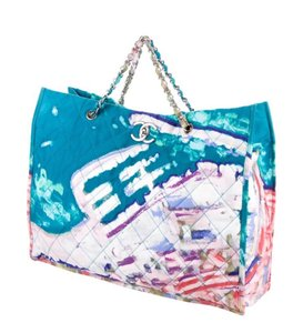 Chanel Graffiti Tote Rare Limited Edition Turquoise Beach Bag