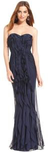 Adrianna Papell Strapless Long Pleated Classic Dress