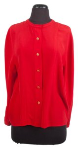 Chanel Silk Button Up Top Red