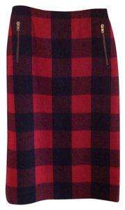 Céline Cashmere Plaid Zippers Skirt red