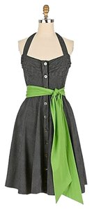 Anthropologie short dress Black, White, Green Retro Vintage Inspired on Tradesy