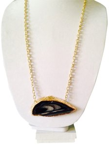 Panacea Cache Oversized Black Agate/Drusy Chain Necklace