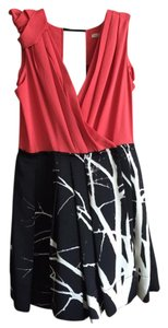 Rachel Roy short dress Black/white skirt with coral top on Tradesy