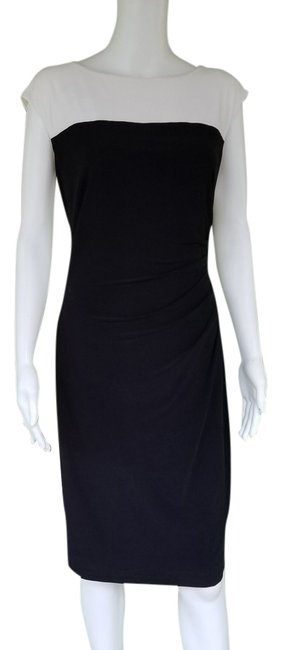 Item - Black and White Picture Frame Ruched Sheath Short Work/Office Dress Size 12 (L)