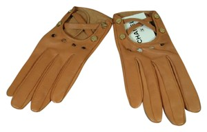 "Chanel 7.5 Lambskin Driving Short Wrist Gloves Gold ""CC"" In Box"