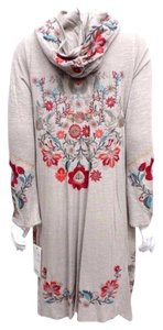 Johnny Was Embroidered Boho Eclectic Hooded Denim Blue Jacket
