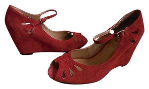 0eb7382abe7 Halogen Red Nordstrom Suede Peeptoe Mary Jane Pumps Wedges Size US 10  Regular (M, B) 55% off retail