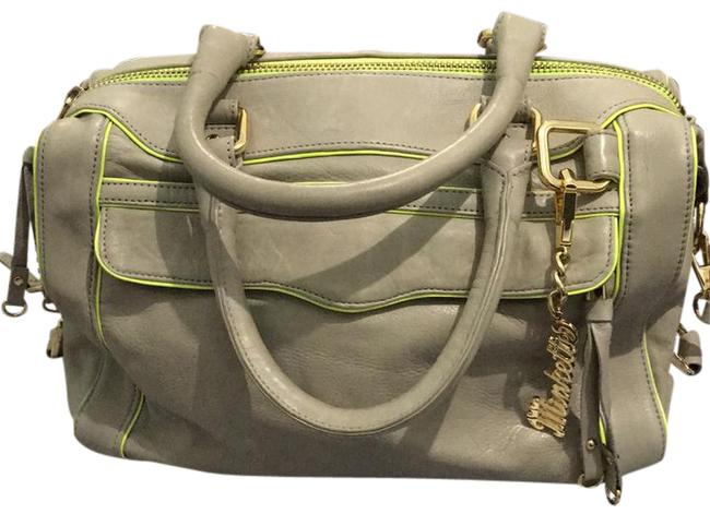 Item - Mini Bag Morning After Dove Grey/Neon Yellow Leather Satchel