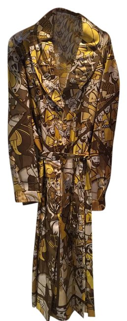 """Item - Gold with Black Baba"""" Silk Vintage Mid-length Work/Office Dress Size 10 (M)"""