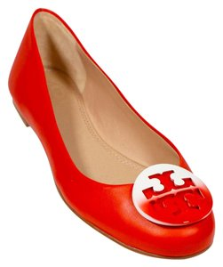 Tory Burch Red Ballerina Red/White Flats