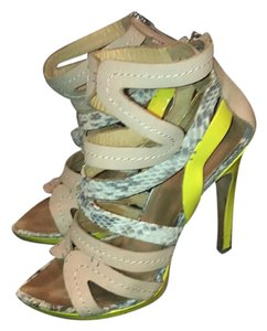 L.A.M.B. yellow, gray snake skin, tan leather Sandals