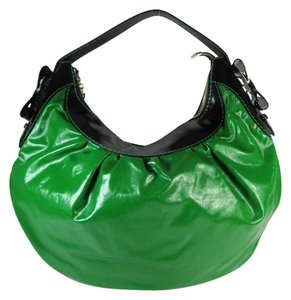 Gucci Leather Gg Black Green Hobo Shoulder Bag