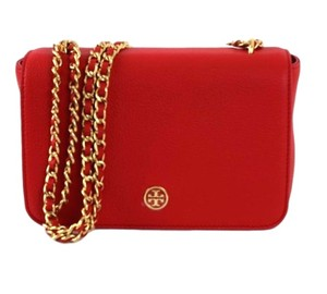 Tory Burch Pebbled Leather Vermillion Cross Body Bag