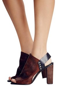 Free People Leather Spain Stacked Heel Soft Leather Brown/Black Wedges