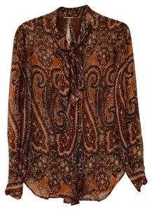 L'AGENCE Top brown paisley