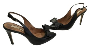 Halogen Black leather inc heels leather lining large double bows black crystals slingback Pumps