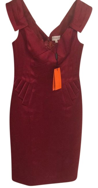 Item - Red Peplum Mid-length Cocktail Dress Size 8 (M)