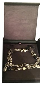 David Yurman David Yurman Silver Black Onyx Pearl Long Figaro Necklace