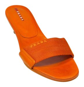 Prada Kitten Heel Rubber Sole Sport Orange Flats