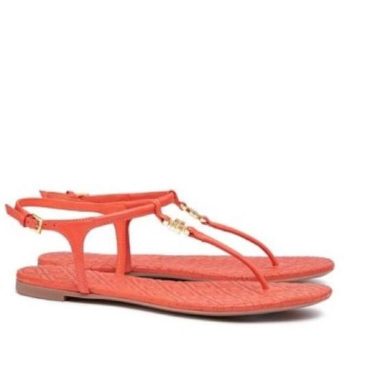 dfebcd3f67b Tory Burch Orange T Marion Quilted Strap Thong Poppy Coral Leather Sandals  Size US 7 Regular (M