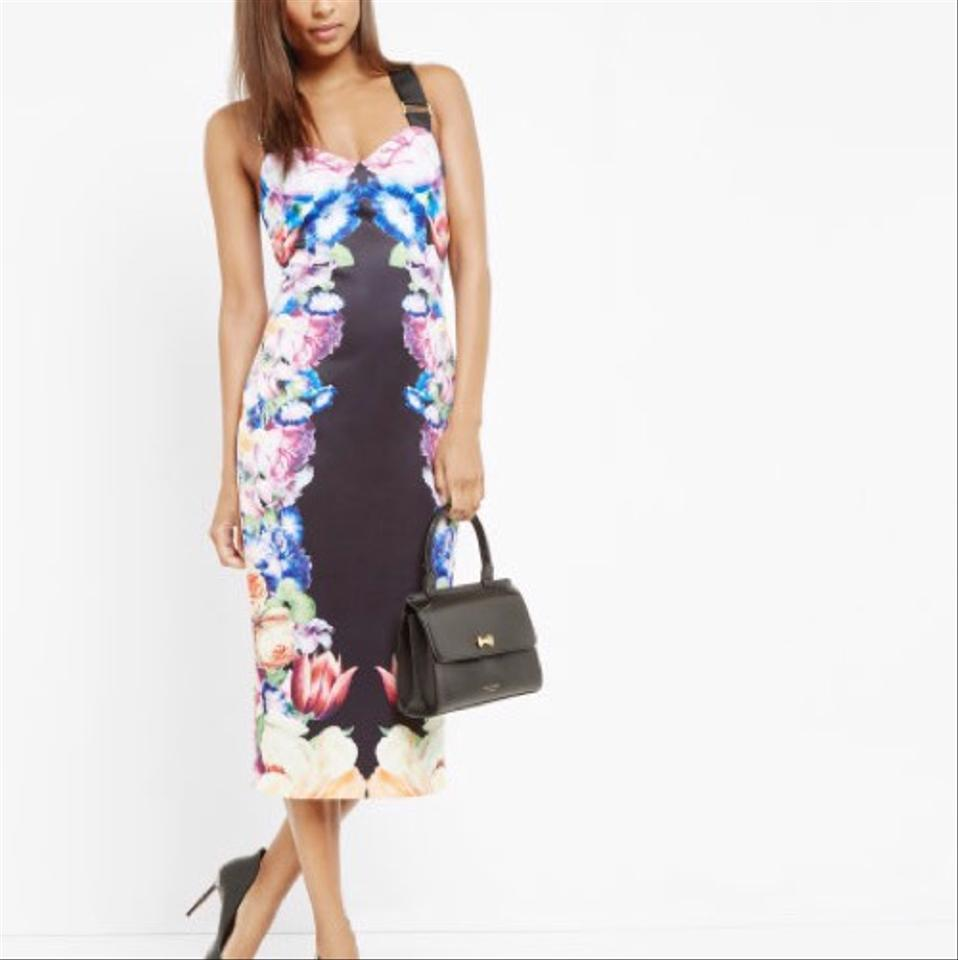 c0609ca6e1a84 Ted Baker Black Deony Bodycon In Tapestry Floral Print Mid-length Cocktail  Dress Size 4 (S) - Tradesy