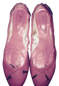 Tod's Ballet Casual Rubber Patent Leather Driving Casual Driving Mocassins Driving Mocs Gucci Prada Chanel Pink Flats