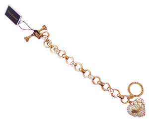 Juicy Couture YJRU7721 Pave Heart & Flower Metallic Gold Chain Charm Bracelet
