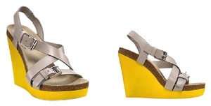 Jill Sanders Multi Yellow Wedge and Grey Strap Wedges