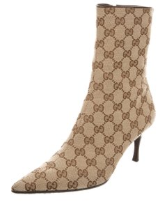Gucci Monogram Pointed Toe Ankle Interlocking Gg Brown Boots