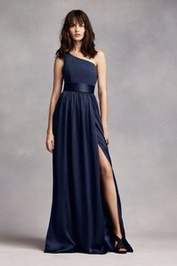Vera Wang Midnight Blue/Navy One Shoulder Dress With Satin Sash Vw360215 Dress