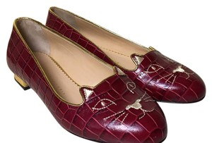 Charlotte Olympia Burgundy/Gold Flats