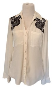 Express Lace Polyester Button Down Shirt Black and White