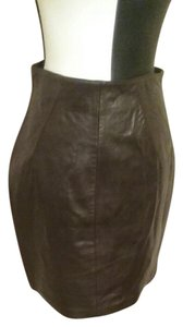 North Beach Leather Skirt Chocolate Brown