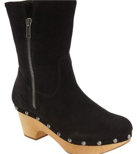 Corso Como Suede Suede Clog Sherpa Lined Foldable Black Boots