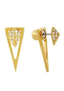 Vince Camuto Rose Gold-Tone Crystal Front and Back Earrings