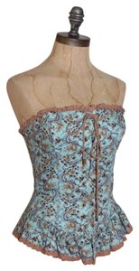 Betsey Johnson Victorian Western Laced Up Bustier Top MULTI